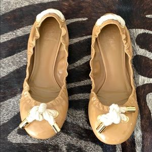 Tory Burch Nude Ballet Flats w/ nautical rope knot
